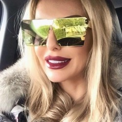 Luxury Vintage Square Rimless Sunglasses Women Brand Designer Driving Sun Glasses For Women Men Lady Female Sunglass Mirror