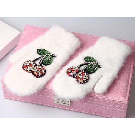 Winter Gloves Luxury Crystal Cherry decoration Rabbit fur gloves For Woman winter gloves girls Mittens