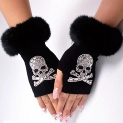 Women Cartoon Animals Fox Gloves Winter Warm Short Plush Diamonds Sequins Skull Half finger Knitted Gloves