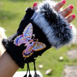 Rabbit fur Fashion Winter Gloves Butterfly Embroider Women Gloves winter Gloves Suede half finger Mittens Female