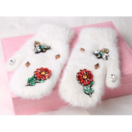 Women Winter Gloves Colorful Crystal Flower,Bee Long Rabbit Fur Gloves Fashion Winter Mittens Double Warm Brand Gloves Female