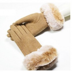 Women Wrist Warm Woolen Mittens Female Luvas Genuine Rabbit Fur Gloves Cashmere Winter Girls Elegant Wool Glove For Lady
