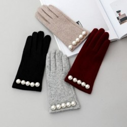 Brand Women Gloves Winter Luxury Pearl Warm Wool Gloves Ladies  Fashion Gloves  Cashmere Mittens Female