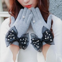 Women Wool Gloves Winter Thick Bow-knot Ladies Fashion Gloves Grey And Pink Elegant Soft Kintting Mittens Woman's Gloves