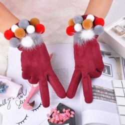 Winter Female Gloves Fashion Touch Screen Wrist Gloves For Women Solid Suede Colorful Ball Finger Gloves Women 5color