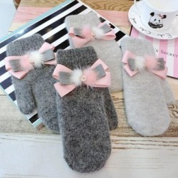 Fashion Women Gloves Winter Pink Bowknot Rabbit Hair Female Mittens Soft Warm Gloves For Women Grey Gloves
