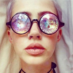 Vintage Round Kaleidoscope Sunglasses Electronic Concert Bar Show Cosplay Cool Colorful Kaleidoscope Glasses Mosaic Glass