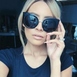 Cat Eye Pink Sunglasses Women Shades Mirror Black Frame Female Sun Glasses Coating Oculos  Fashion Brand Sunglasses 1030R