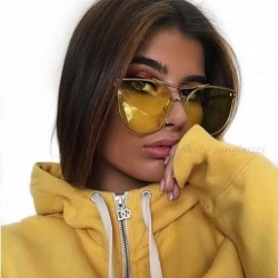 New Luxury Brand Designer Transparent Sunglasses Classic Matel Frame Men Women Cat Eye Clear Sun Glasses Yellow Shades