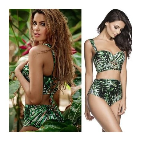 Free Shipping Sexy Fashion Print Bikini Two Piece Brief Sets Triangle Women Swimsuit Tie up Swimwear 8919