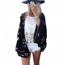 Black Sunscreen Chiffon Cardigan Blouse Snow Patterm Summer Swimwear Beach Cover Up 2017 Women's Yarn Women Sexy Suit Cover Ups