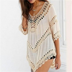 Women Fashion Sexy Crochet Hollow Out Cover-ups Beachwear Swimwear Top Summer Beach Wear XY522
