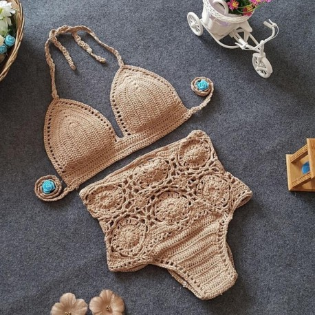 New Summer 2018 Fashion Bohemian Women Push-Up Handmade Knitted Clothes Set Sexy High Waist Skinny Separate Bodysuits Bathing