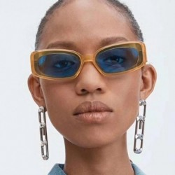2019 New Ins Popular CEO Rectangle Sunglasses Women Brand Designer Ulzzang Candy Colors Clear Red Blue Sun Glasses Men