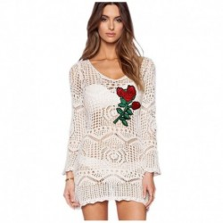 Women's Fashion Swimwear Summer Sexy Crochet Hollow Out Swimsuit Top Blouse Long Sleeve Embroidery Knit Beach Shirt Dress