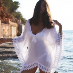 Sexy Ladies Beach Cover Ups Sexy 2017 Summer For Women White Lace Blouse Shirts Summer Swimwear Bathing Suit V neck Blouse Shirt
