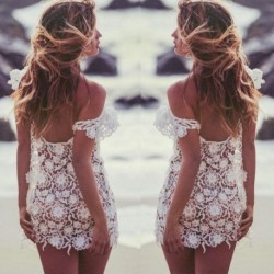 Fashion Womens Bathing Suit Sexy Lace Dress Summer Sleeveless Crochet Swimwear Beach Mini Dresses