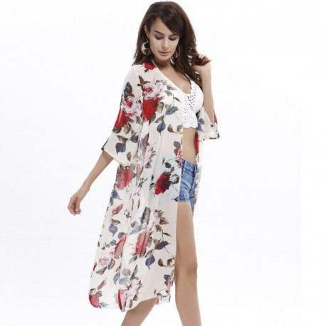 Floral Printed Sexy Women's Chiffon Blouse Shirt kaftan Bikini Cover UP Beach Swimwear kimono Cardigan Summer 2017 Hot
