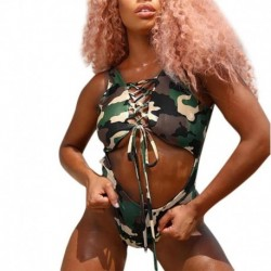 2018 Summer New Fashion bodysuit Women Piece Of Swimsuit Camouflage Print Bathing Suit rompers womens jumpsuit