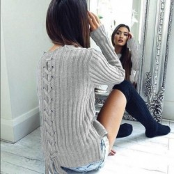 Back Lace-up Women Sweater Autumn Winter Casual Pullover Knitted Sweater Solid Tops Shirt Sweaters Pullovers 5 Colors EY11