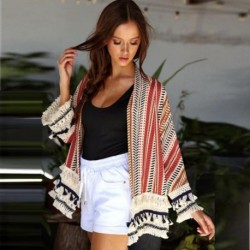 Women Floral Print Loose Shawl Kimono Cardigan Top Cover up Coat Jacket Shirt Casual Tassel Lace Up Striped Kurtka*1