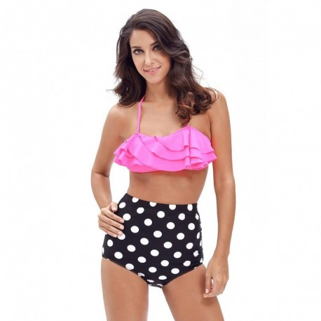 Women's High Waisted Panties Set Push Up Retro Polka Dot Bathing Suits Plus Size 2017 New Sexy