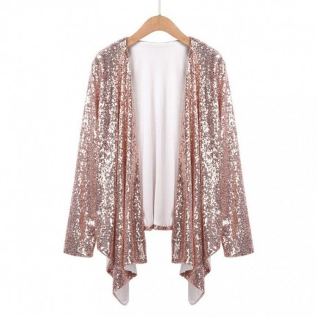 Women Spring Coat Cardigan Autumn Casual Long Sleeve Solid Sequined Irregular Cardigan Tops Cover Up Blouse blusas kimonos mujer