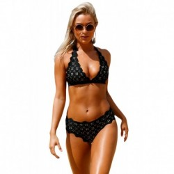 Black Scalloped Laser Hollow Out Halter Bikini Swimsuit