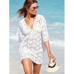 2017 new summer beach swimwear lace cover ups pareo tunic dress white color
