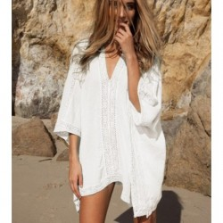 2018 Women lace splice beach dress output swimwear batwing sleeve sexy hot summer dresses women pareos beachwear dresses