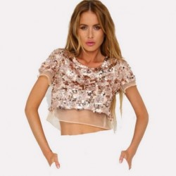 Sexy Women Loose Cropped Tops Sequined Mesh Silk Female Elegant T-shirt Hole Cut Ladies Nightclub Wear Girl Casual Paety Tees Z3