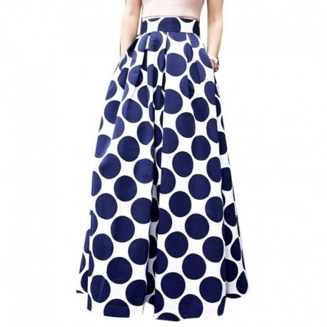 Women Fashion Polka Dot Skirt Charm Blue Bodycon A line Maxi Skirts European And American Style Print Pockets Long Skirt C2