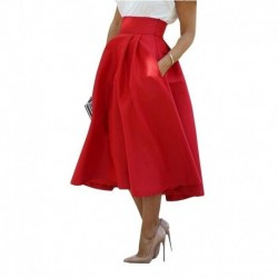 High Waist Red Midi Skirt Women Summer Autumn Casual Party Pleated Skirts A-Line Elegant Tight Slim Patchwork Skirt Girl Z30