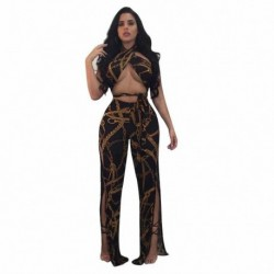 2 Piece Set 2018 Women Bandage Tops Wide Leg Pants Suits Charm Summer Crop Top And Full Length Wide Legs Pant Sets D1