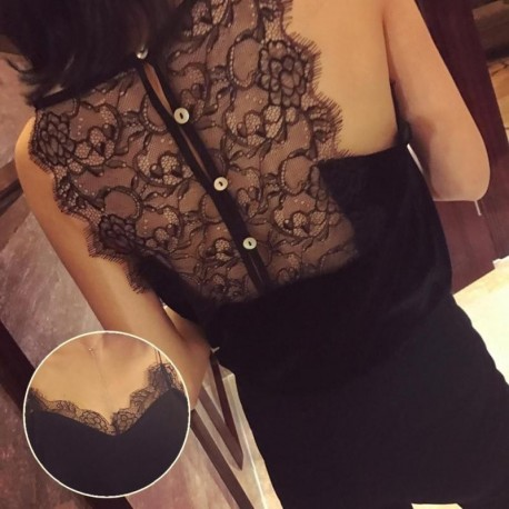 Elegant Lady Lace Camis Women's Black Tanks Tops Sexy V Neck Back Buttons Vest Girl Casual Party Slim T-shirt Fitness Top Z30