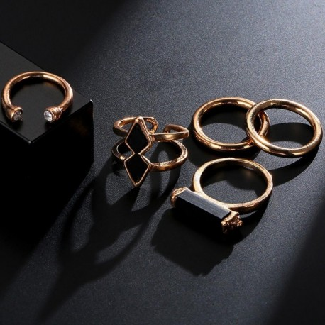 5Pcs/Set Vintage Silver Arrow Moon Finger Knuckle Rings Jewelry Gift