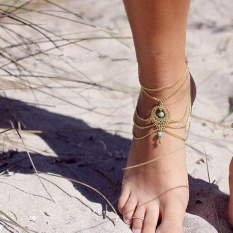 Womens Beach Barefoot Sandal Foot Turquoise Jewelry Anklet Chain Tassel