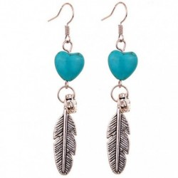 Women Girls Heart Leaves Sliver Plated Turquoise Heart Drop Earrings