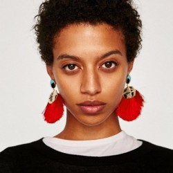 JUJIA Ethnic Handmade Tassel Earring Statement Fringe Earrings  Boho Drop Earings Fashion Jewelry For Women Brincos
