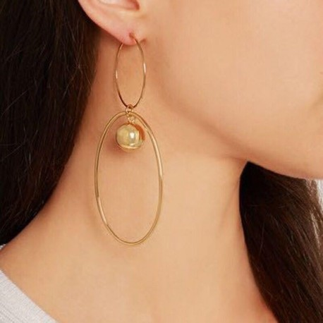 Steampunk Gold Palted Double Big Circles Dangle Earring Female Statement Drop Earrings For Women Bijoux Brincos