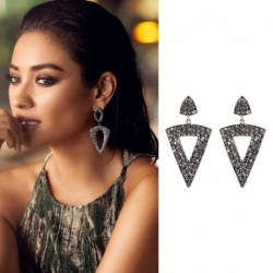 JUJIA Hot Sale 2017 High Quality Full Rhinestones Triangle Wedding Women Drop Earrings Long Earrings For Women
