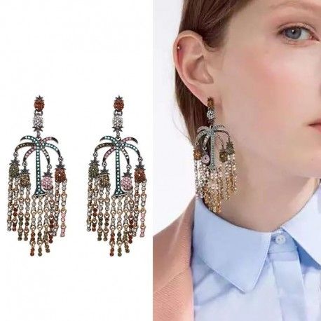 NEW HOT New Fashion Big Bohemia Style Flower Statement Brand Vintage Multi Color Stone stud Earrings Jewelry For Women