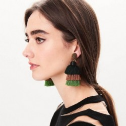 Bohemian Fashion Ethnic Beaded Drop Tassel Earrings Indian Long Dangling Fringe Earrings For Women Brincos