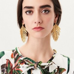 Hot New Boho Statement Gold Leaves Drop Earrings Pendientes Mujer Jewelry Long Dangle Earrings For Women