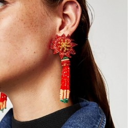 Ethnic Jewelry Handmade Beaded Fringe Statement Earrings Red Flower Long Tassel Earrings Bohemian Earrings for Women