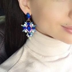 Hot Colorful Flower Big Brand Design Luxury Rhinestone Starburst Pendant Crystal Gem Statement Earrings Jewelry