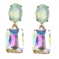 10 Colors Big Gem Crystal BeadsTrendy Boho Statement Long Earrings Handmade Wedding Engagement Drop Earrings