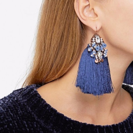 JUJIA Boho Beads Long Fringed Earrings Tassel Earrings Women Vintage Ethnic Jewelry pendientes flecos borla