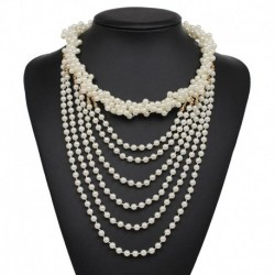 Hot sale NEW  fashion necklace collar Necklaces & Pendants trendy choker chunky metal chain statement simulated pearl necklace