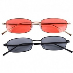 2 Piece Vintage Sunglasses Women Men Rectangle Glasses Small Retro Shades Sunglasses Women S8004 Gold Frame Orange & Black Frame